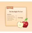 Bright recipe card with cute cartoon apple vector