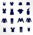 Different types of women clothing as flat icons vector