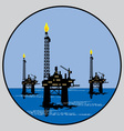 Petroleum platform emblem vector
