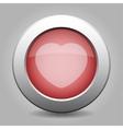 Gray chrome button with heart vector