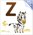 Animal alphabet for the kids z for the zebra vector