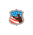 Policeman silhouette pointing gun flag shield vector