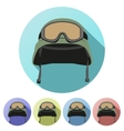 Set flat icons of green military helmet with vector