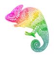 Zentangle stylized multi coloured chameleon hand vector