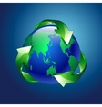 A clean green blue planet recycle vector