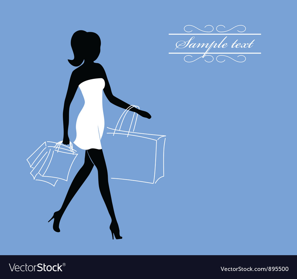 A girl with shopping bags vector | Price: 1 Credit (USD $1)