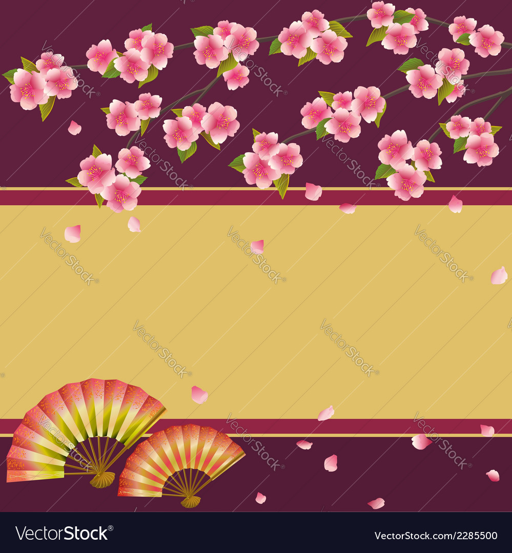 Background japanese cherry tree sakura and fans vector | Price: 1 Credit (USD $1)