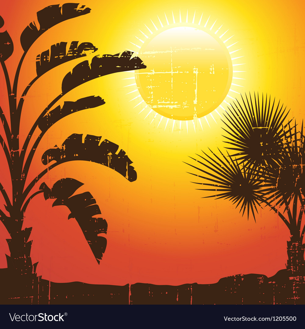 Background with palm trees silhouette at sunset vector | Price: 1 Credit (USD $1)