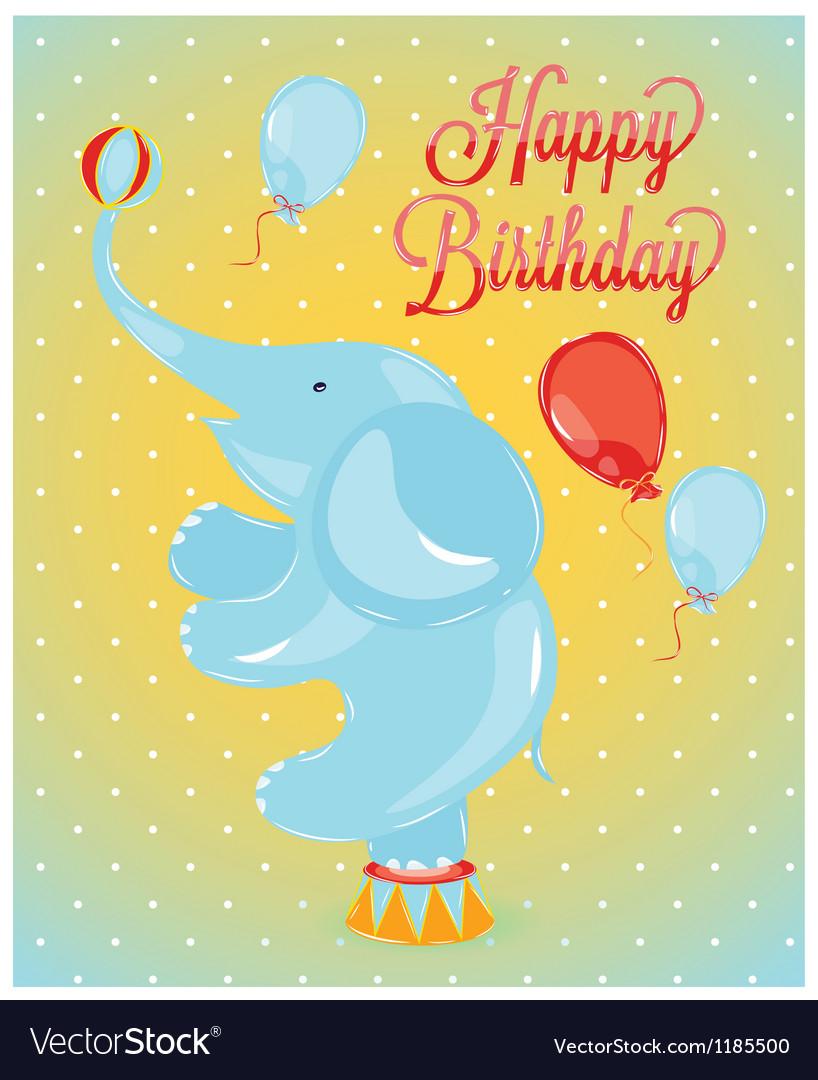 Birthday card elephant vector | Price: 1 Credit (USD $1)