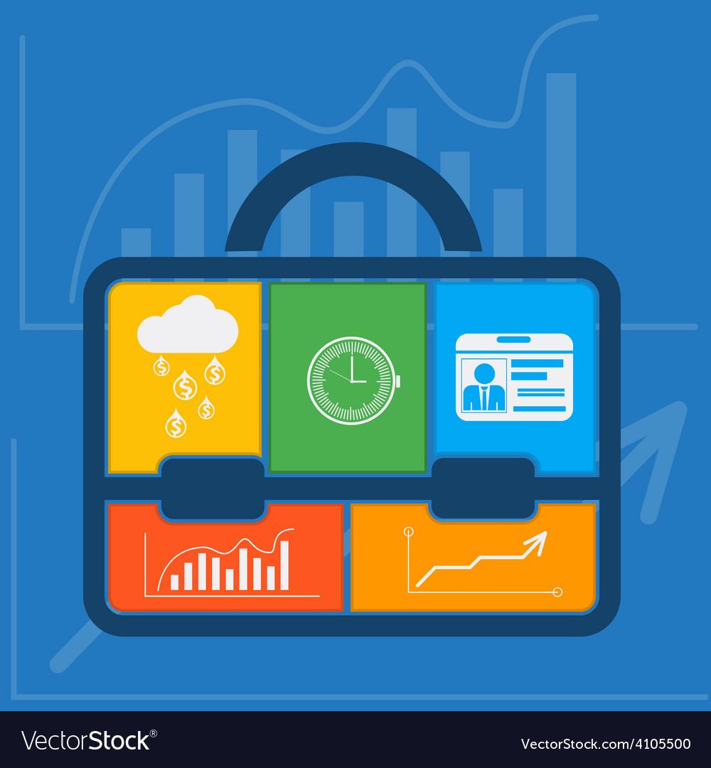 Briefcase with graph clock badge money cloud vector | Price: 1 Credit (USD $1)