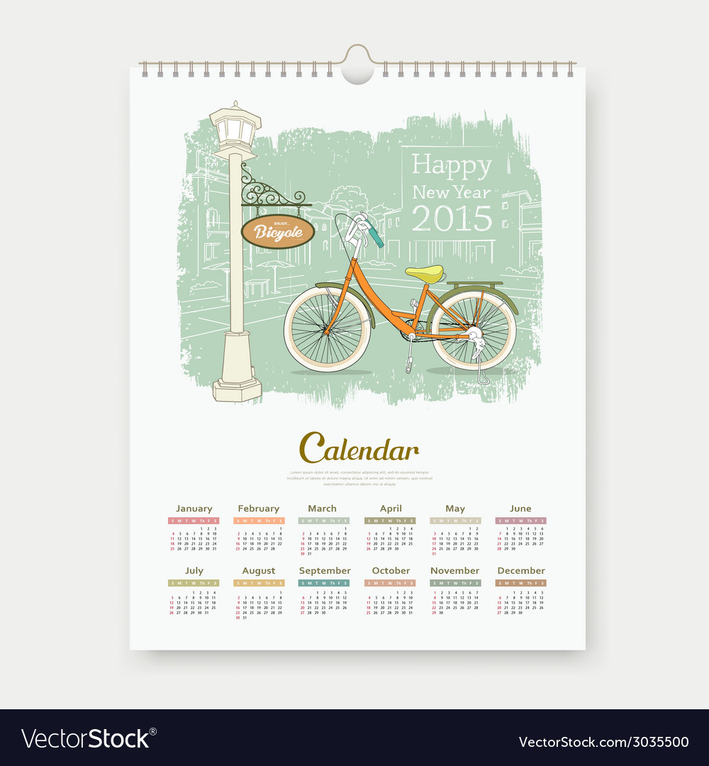 Calendar 2015 enjoy bicycle design vector | Price: 1 Credit (USD $1)