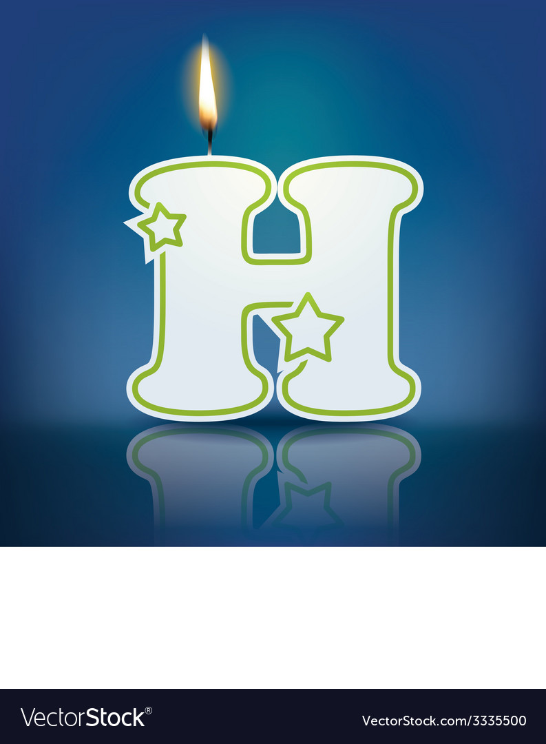 Candle letter h with flame vector   Price: 1 Credit (USD $1)