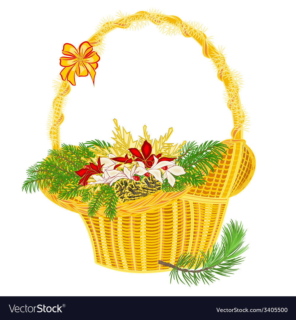 Christmas decoration basket with branches vector | Price: 1 Credit (USD $1)
