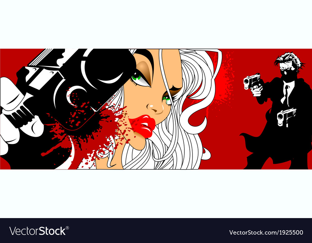 Comic book style woman with gun vector | Price: 1 Credit (USD $1)