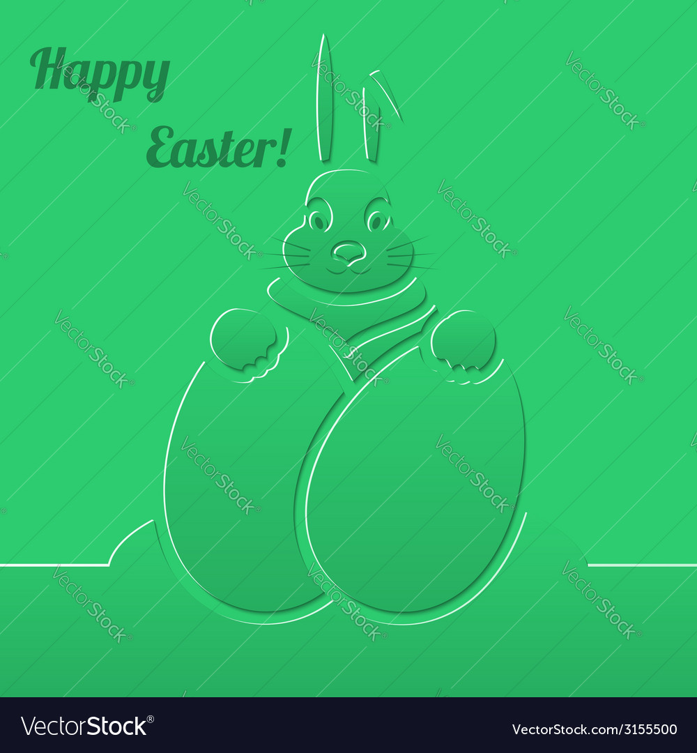 Easter bunny with eggs green paper background vector | Price: 1 Credit (USD $1)