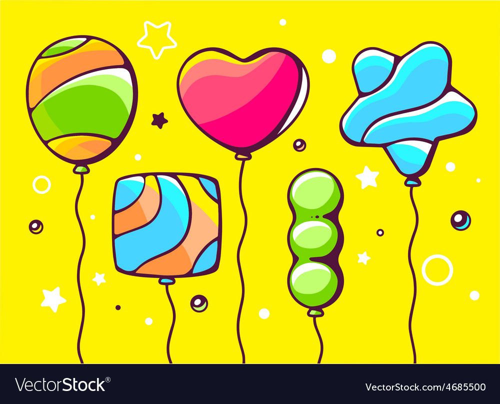Festive set of colorful striped balloons vector | Price: 3 Credit (USD $3)
