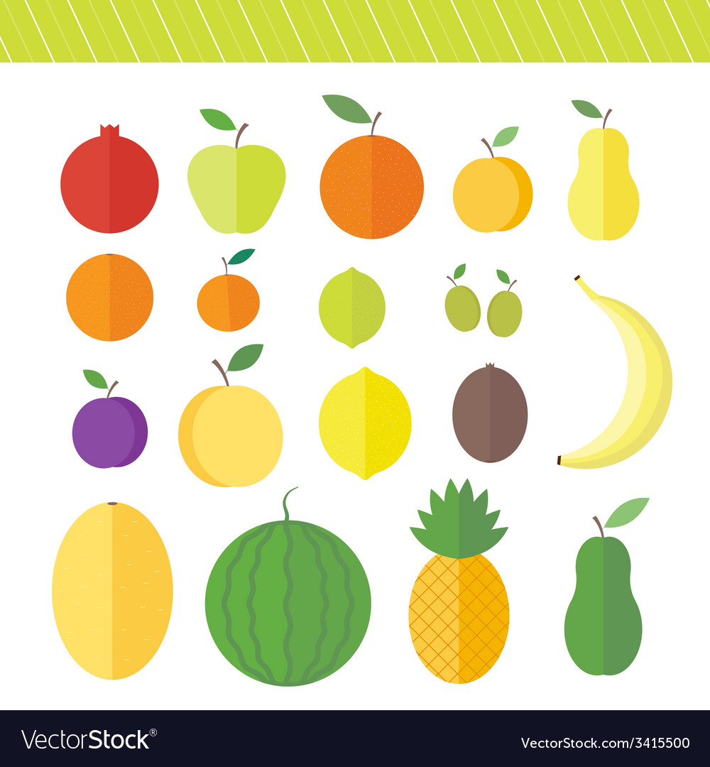 Flat elements for web design fruits and berries vector | Price: 1 Credit (USD $1)