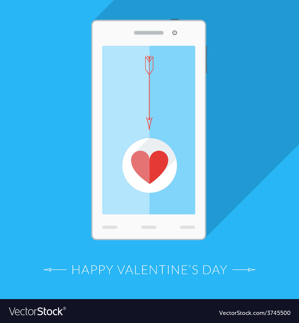 Heart icon and arrow on the smartphones display vector | Price: 1 Credit (USD $1)