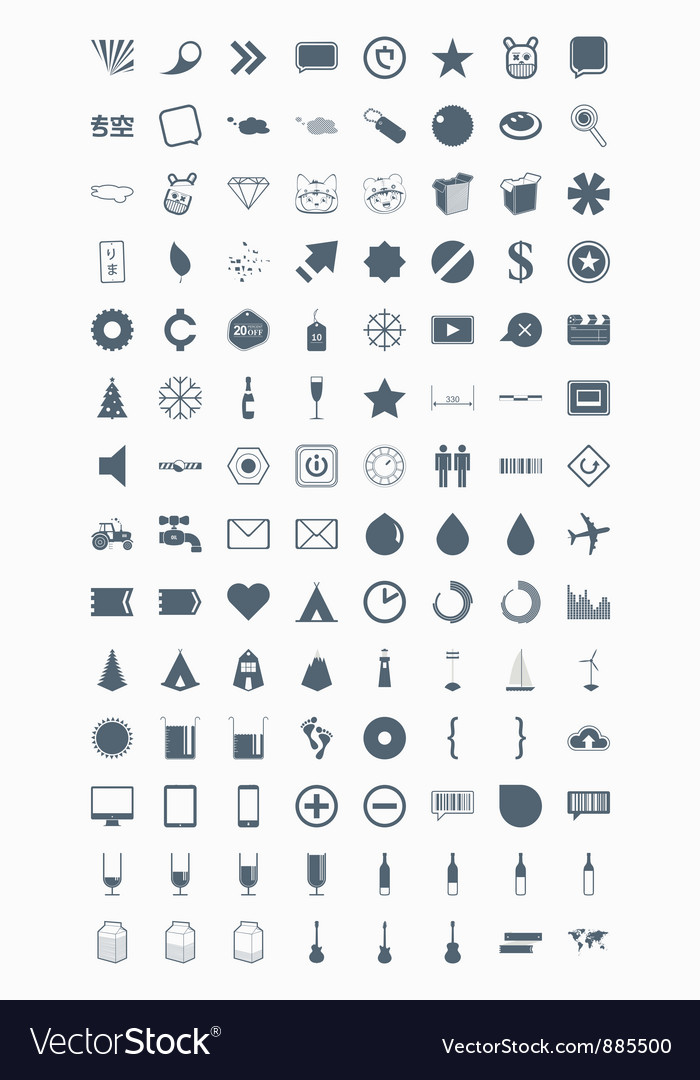 Icons signs symbols and pictograms vector | Price: 1 Credit (USD $1)