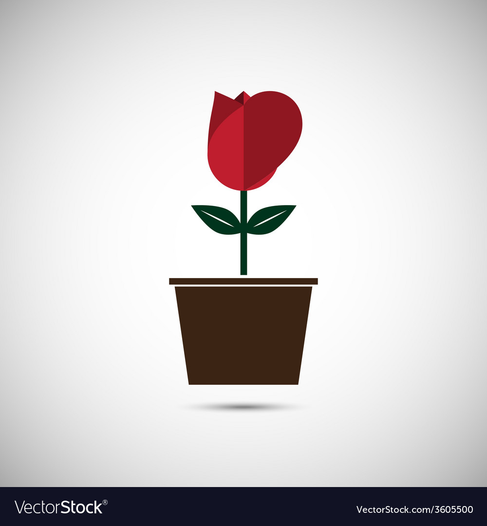 Love heart flower pot vector | Price: 1 Credit (USD $1)