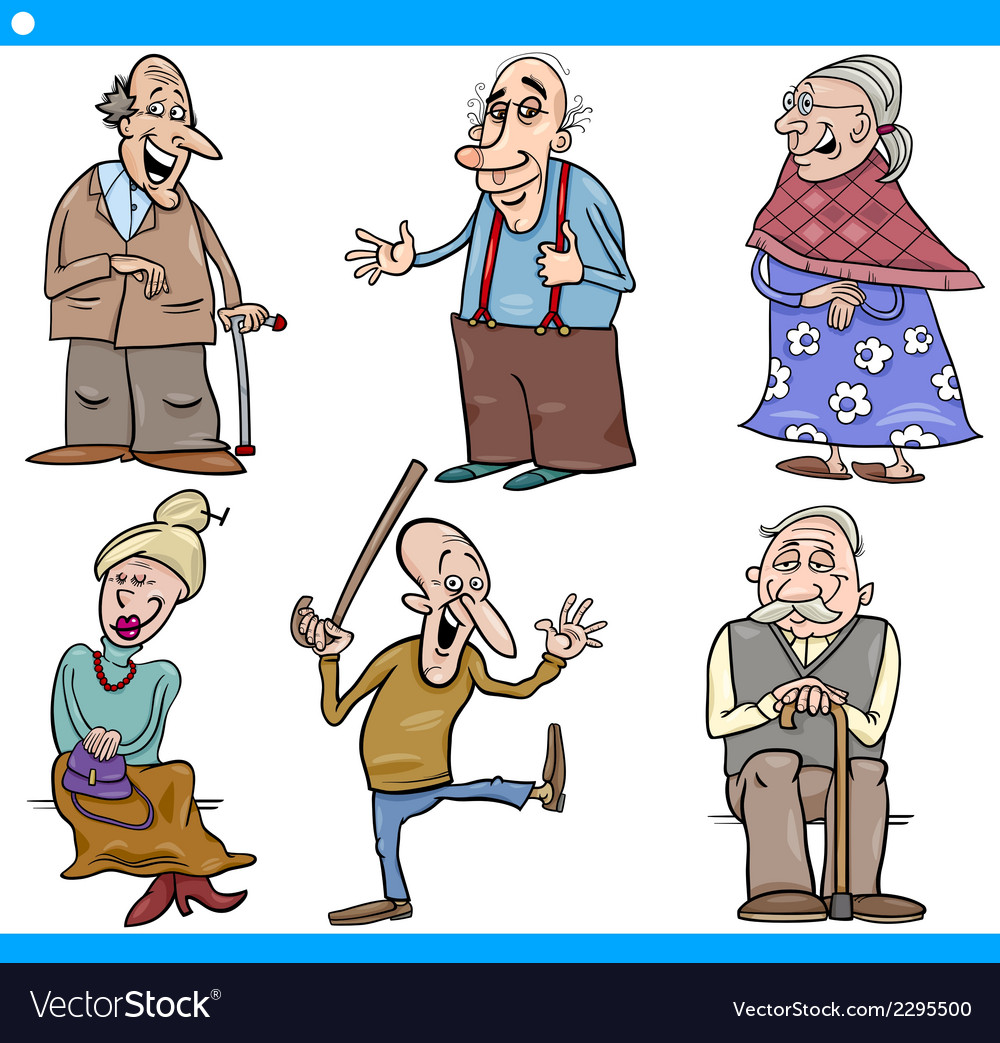 Seniors people set cartoon vector | Price: 1 Credit (USD $1)