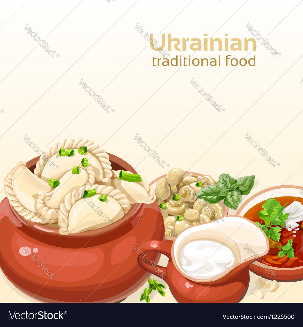 Ukrainian traditional food background vector | Price: 3 Credit (USD $3)
