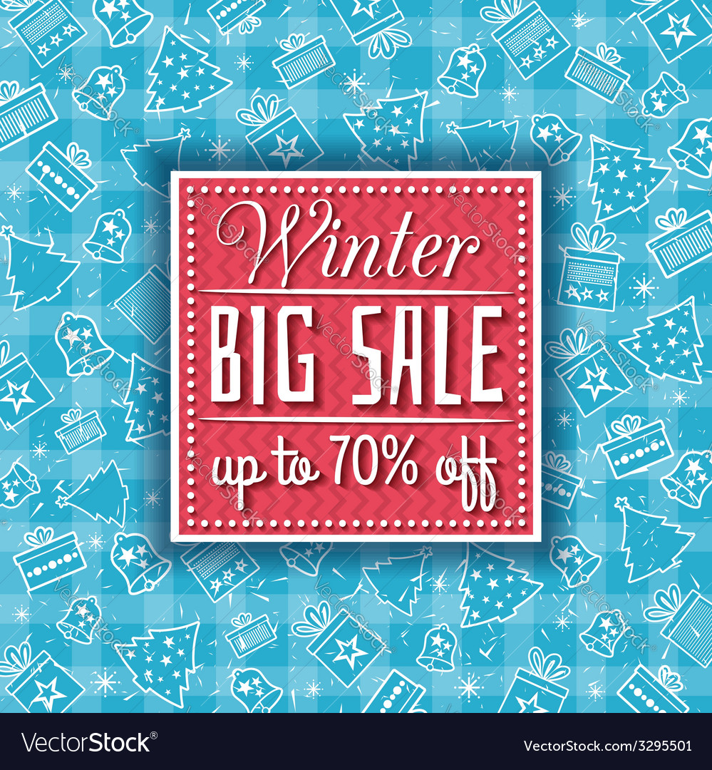 Blue christmas background with sale offer vector | Price: 1 Credit (USD $1)