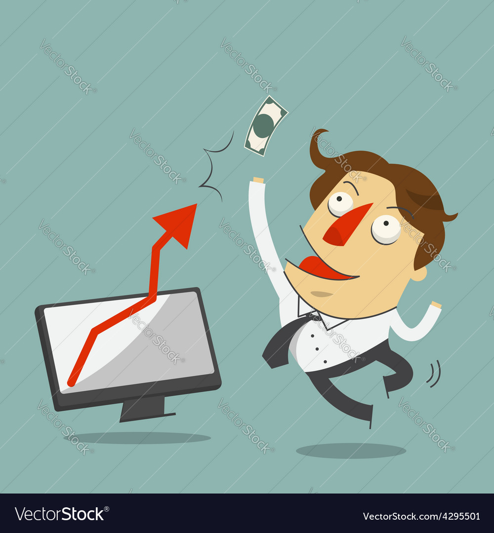 Businessman jump in the air with arrow increase vector | Price: 1 Credit (USD $1)