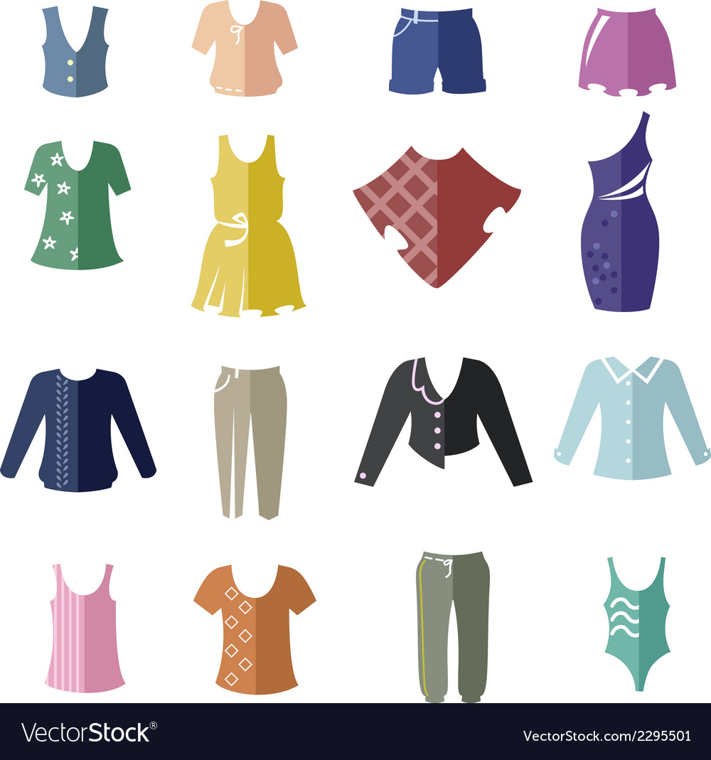 Different types of women clothing as icons vector | Price: 1 Credit (USD $1)