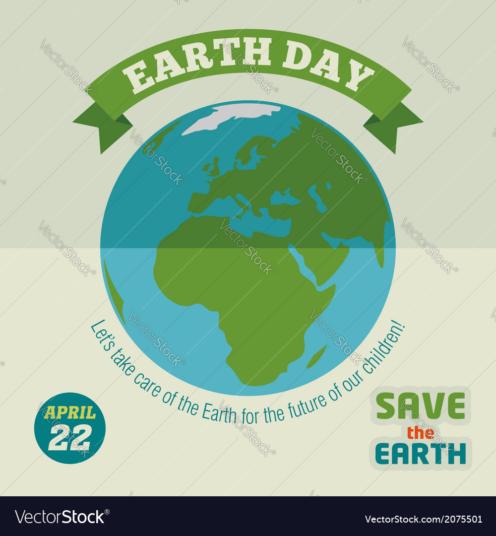 Earth day flat design poster vector | Price: 1 Credit (USD $1)
