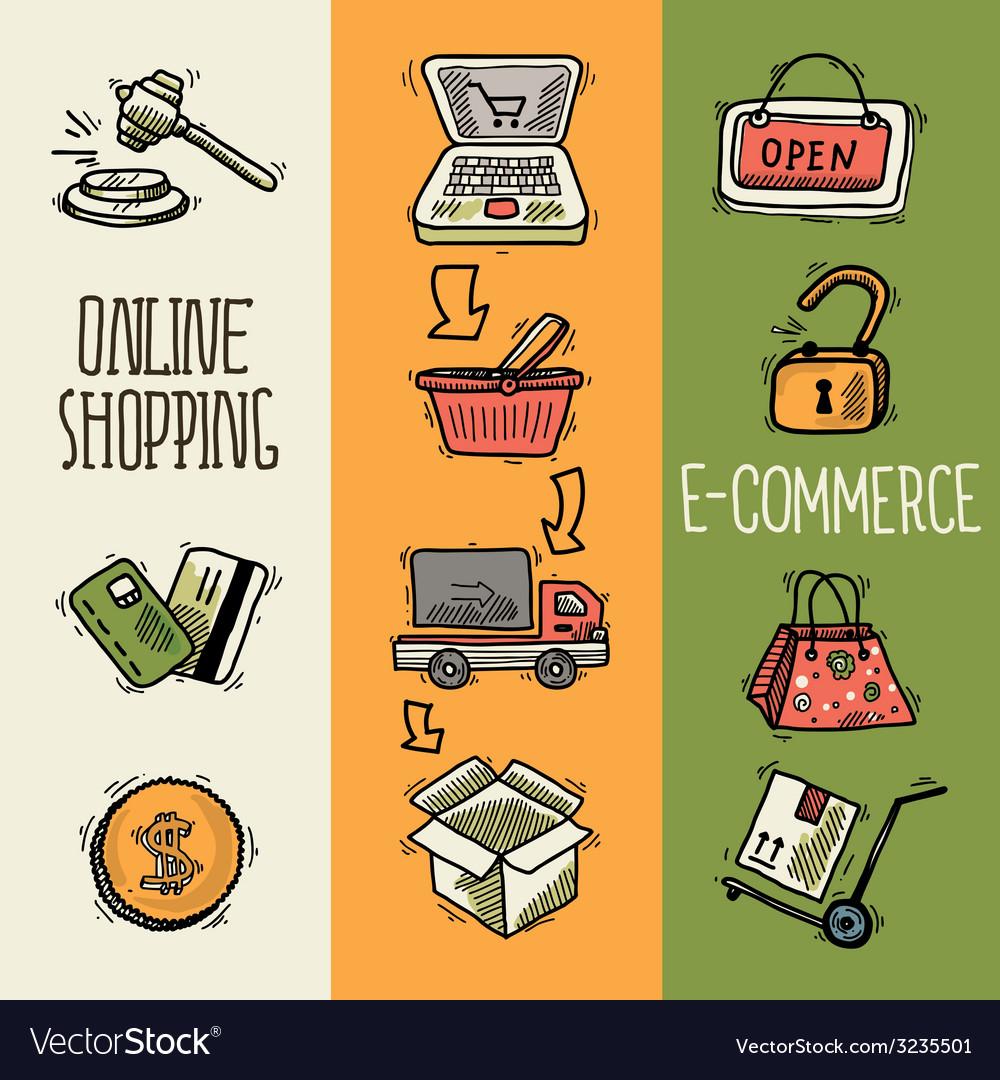 E-commerce design sketch banner vector | Price: 1 Credit (USD $1)