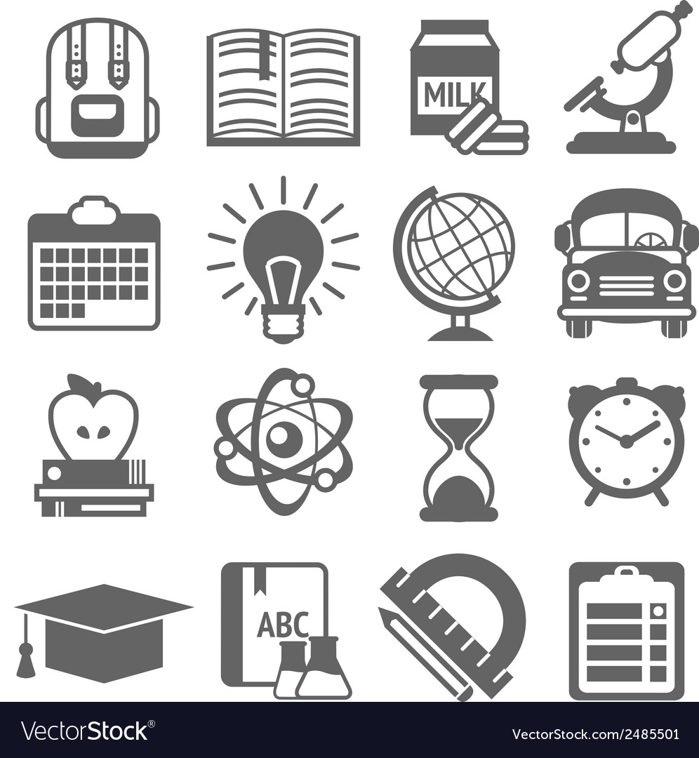Education icons black and white vector | Price: 1 Credit (USD $1)