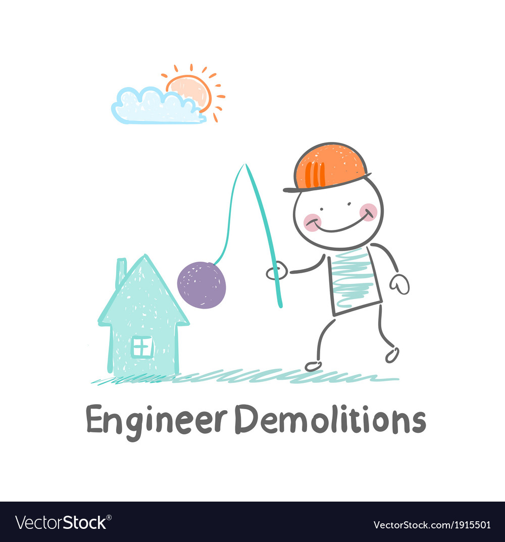 Engineer demolitions destroys home vector | Price: 1 Credit (USD $1)