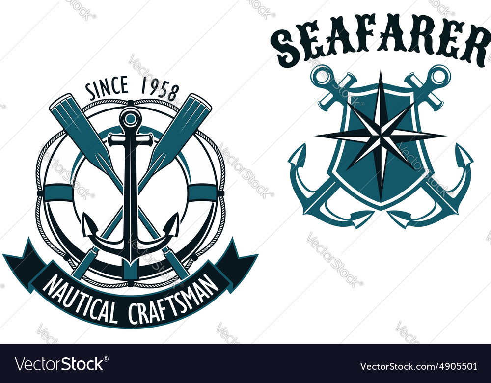Nautical and marine themed badges vector