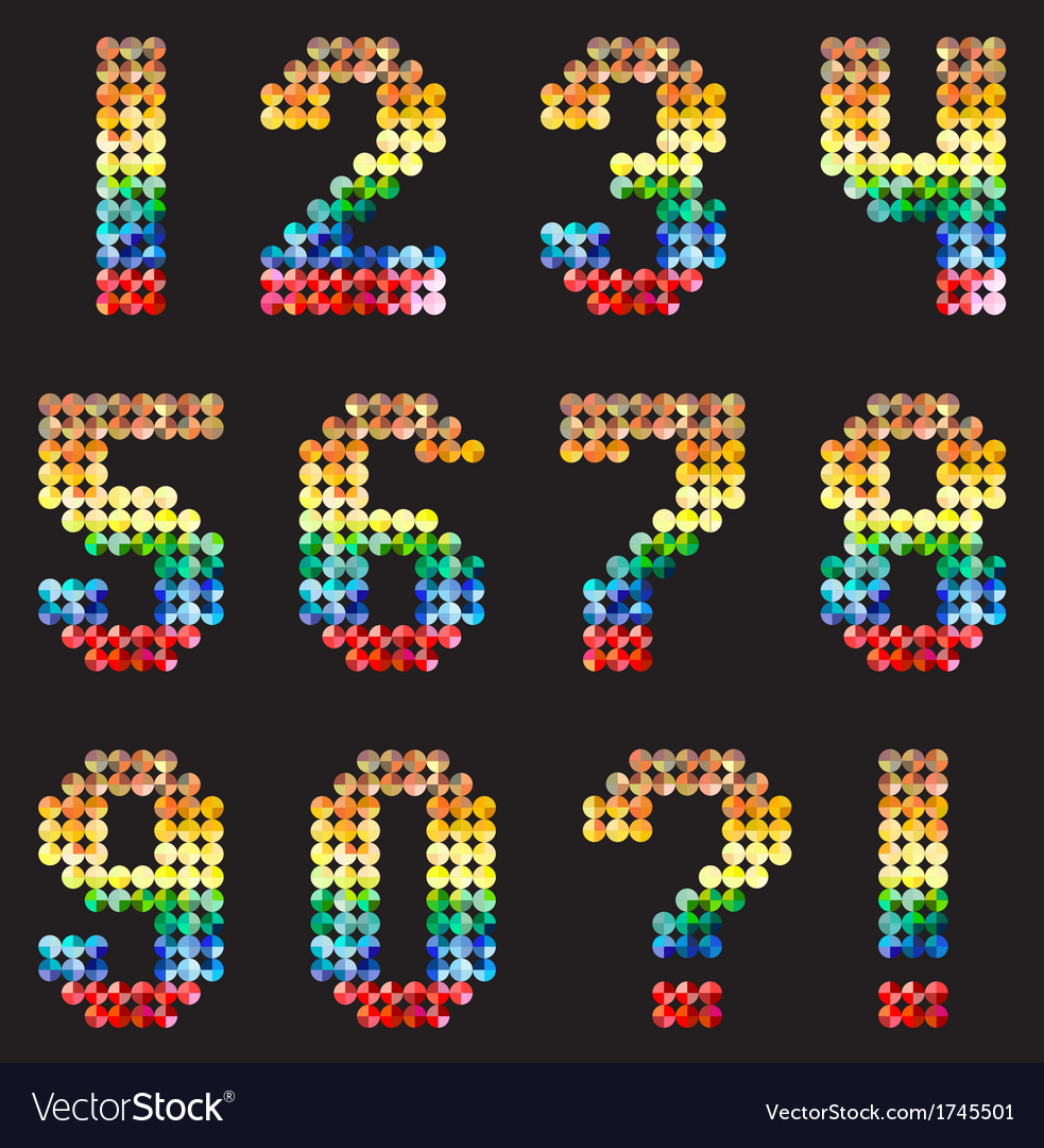 Numbers alphabet from the multicolored mosaic vector | Price: 1 Credit (USD $1)