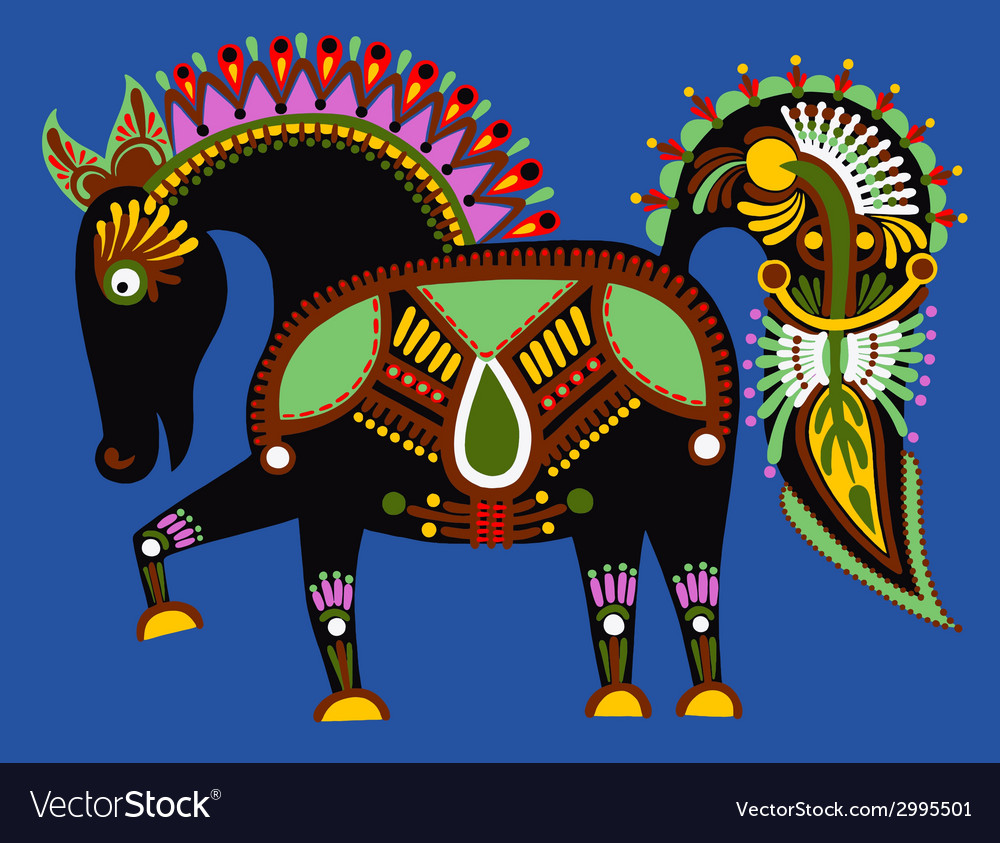 Original ukrainian tribal animal painting vector | Price: 1 Credit (USD $1)