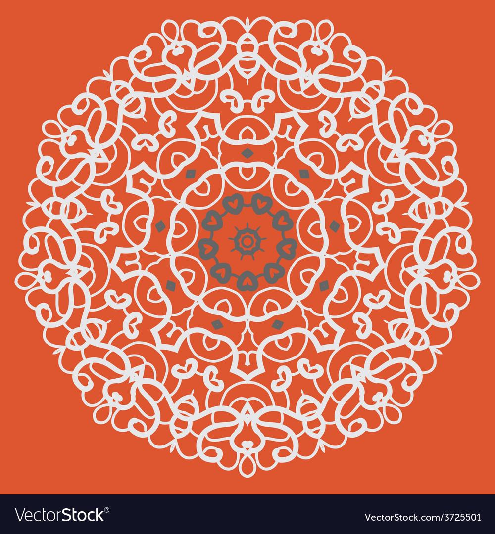Ornamental mandala on seamless pattern vector