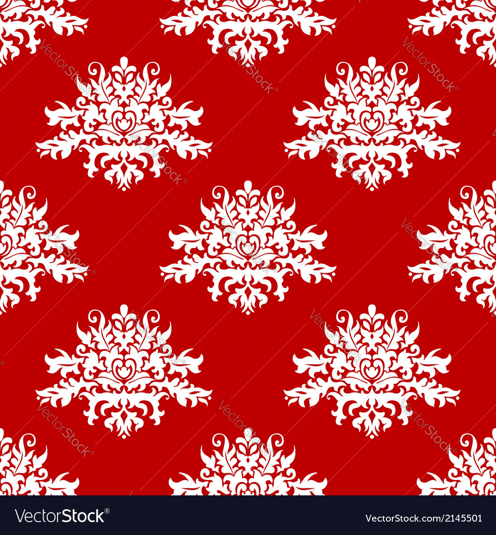 Red or amaranth damask style fabric pattern vector | Price: 1 Credit (USD $1)