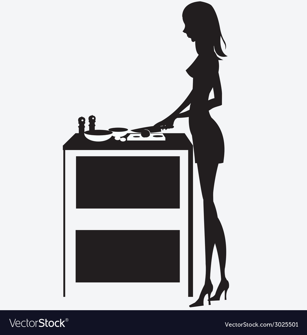 Silhouette woman cooking dinner vector | Price: 1 Credit (USD $1)