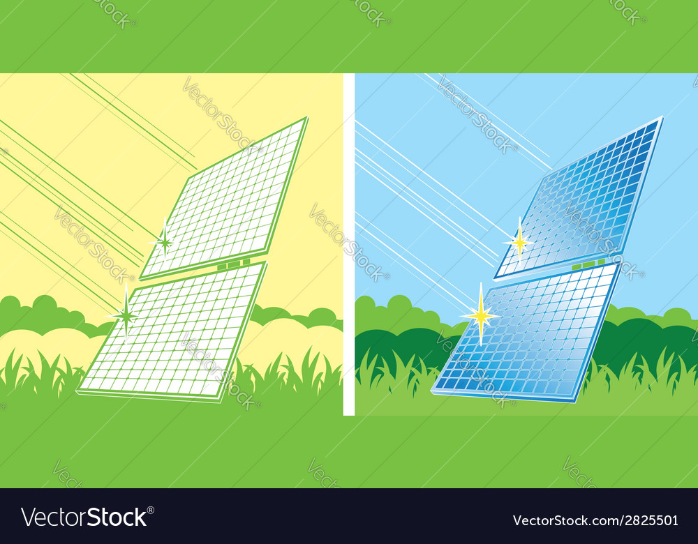 Solar panels in color vector | Price: 1 Credit (USD $1)