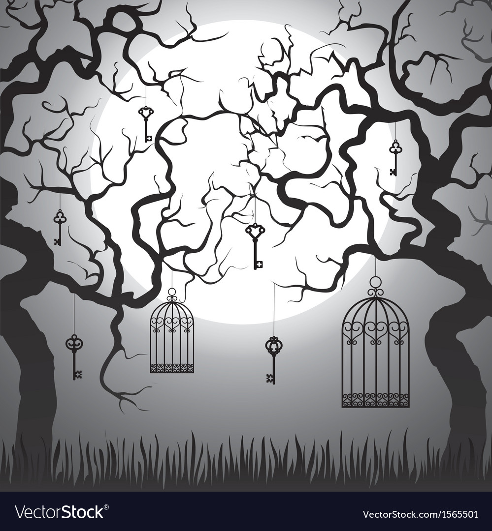 Trees with cages at night vector | Price: 1 Credit (USD $1)