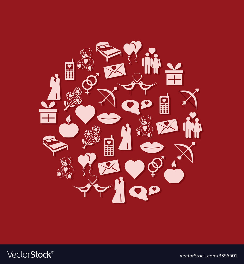 Valentine icons in circle vector   Price: 1 Credit (USD $1)