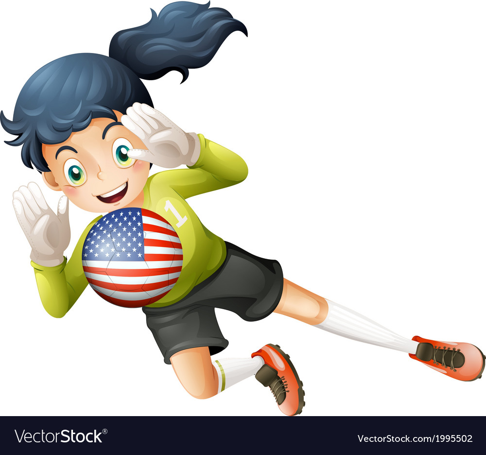 A female soccer player with the united states flag vector | Price: 1 Credit (USD $1)