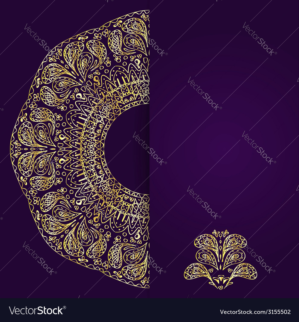 Abstract lilac background with gold lacy mandala vector | Price: 1 Credit (USD $1)