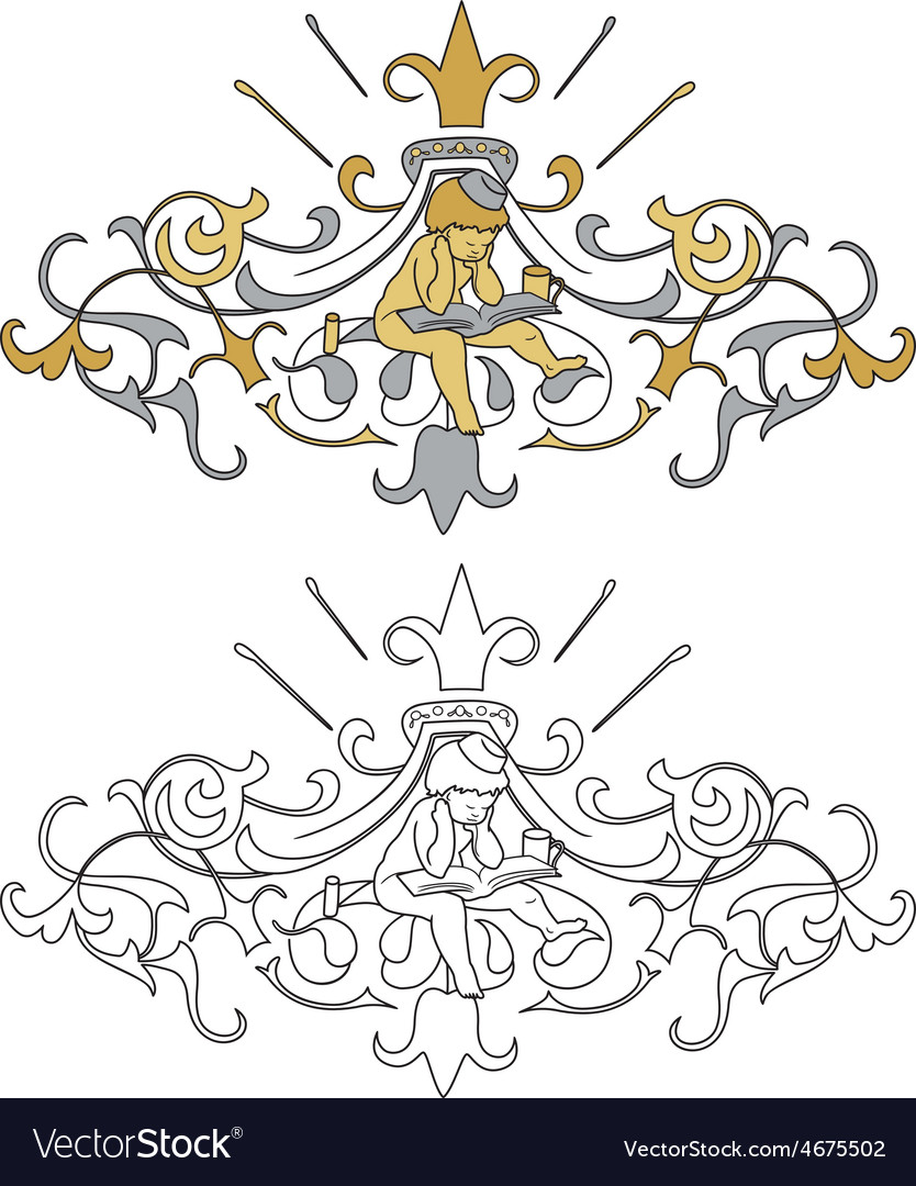 Coat of arms with cherub vector | Price: 1 Credit (USD $1)