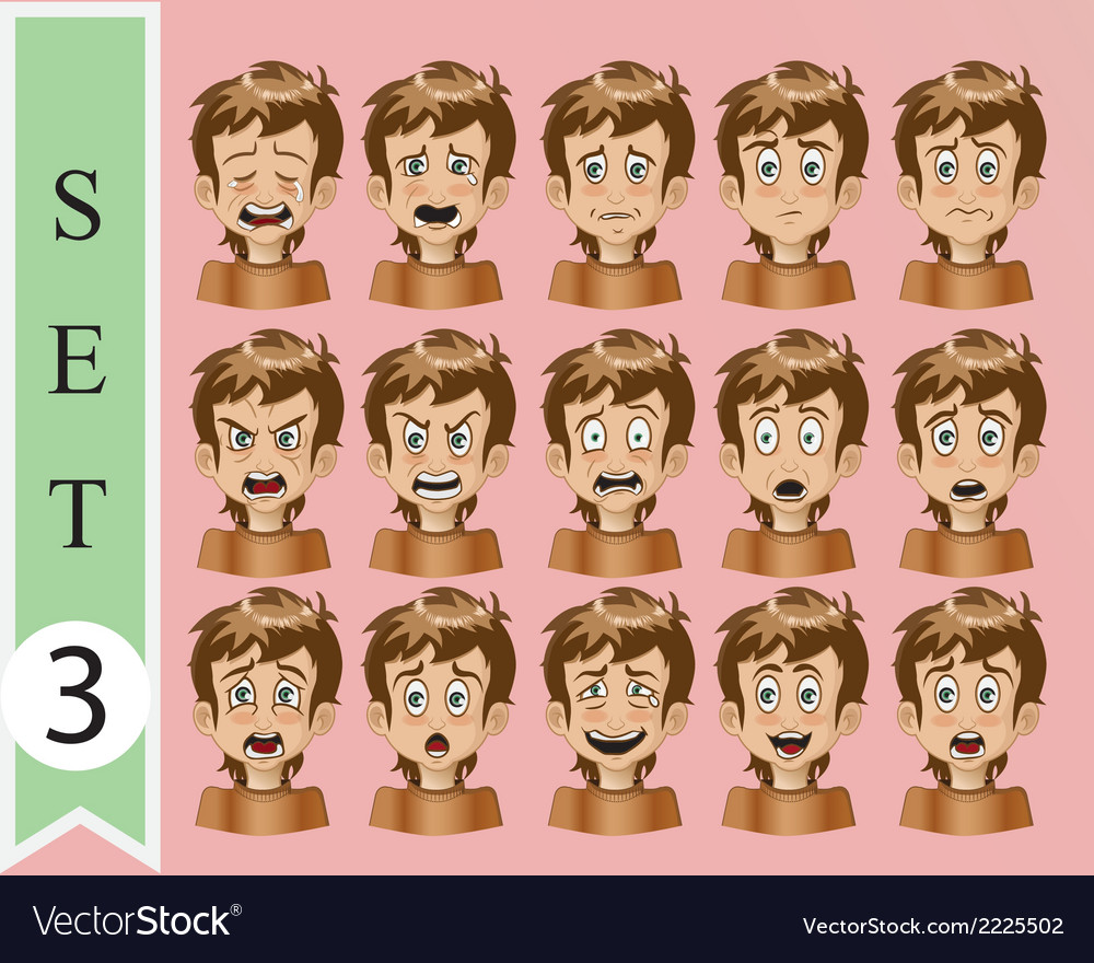 Collection of cartoon emotion face 3 vector | Price: 1 Credit (USD $1)