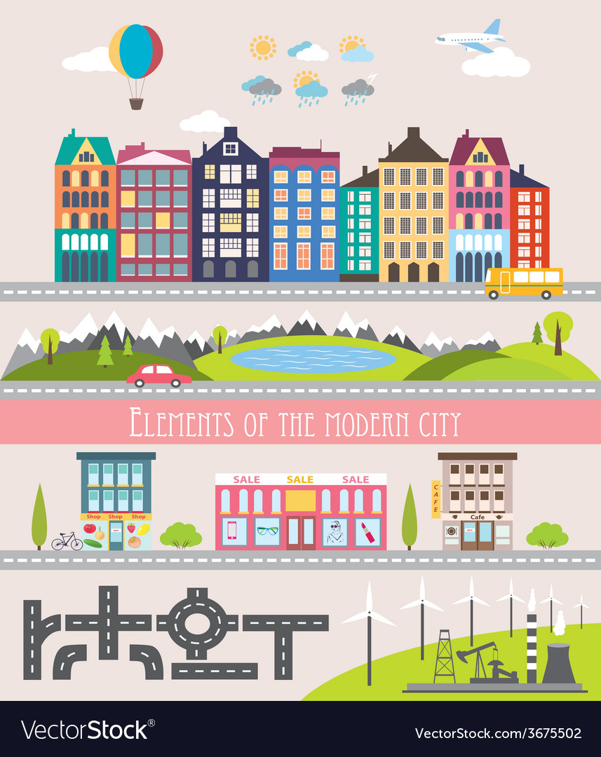 Different city elements for creating your own map vector | Price: 1 Credit (USD $1)