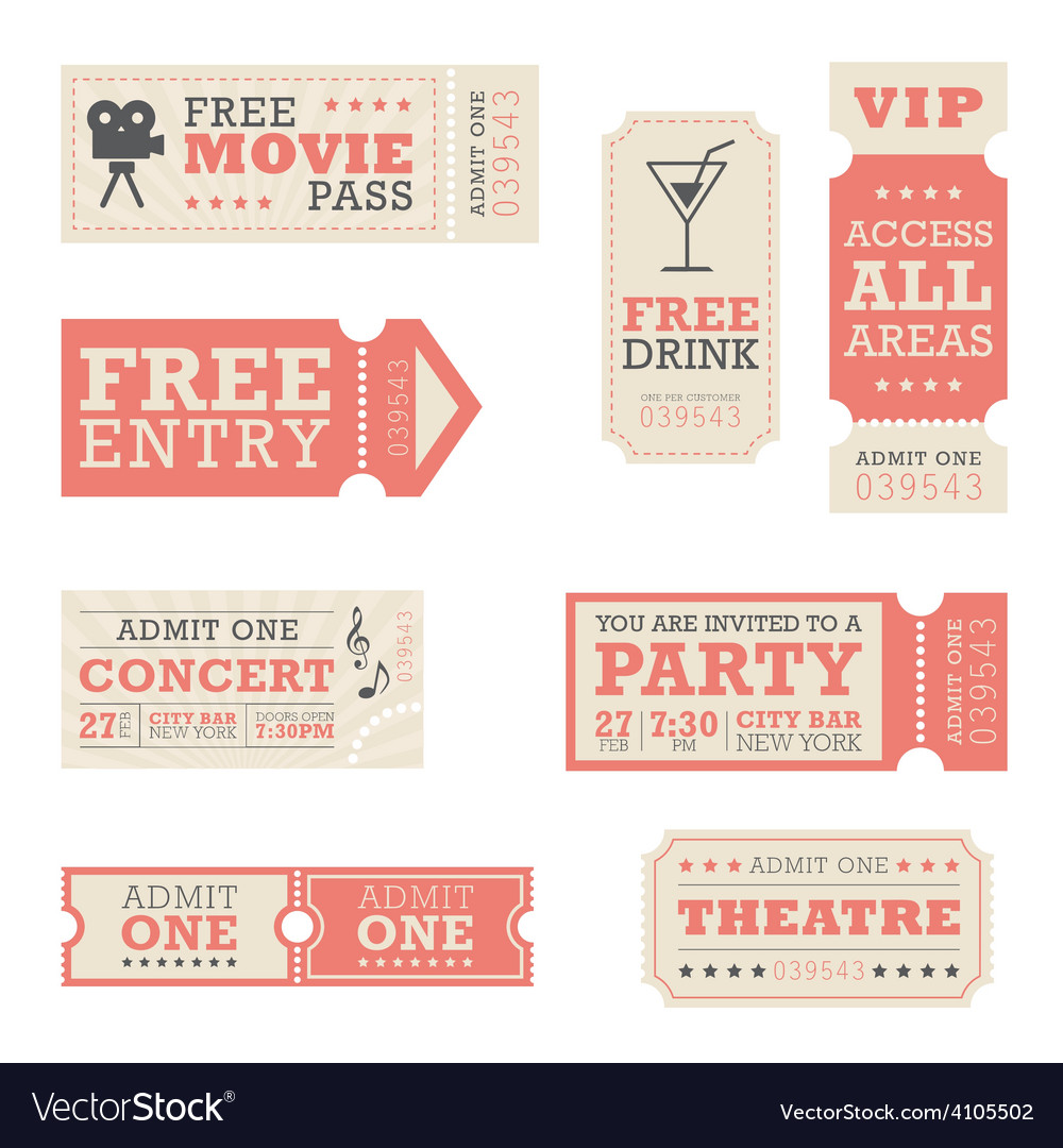 Entertainment tickets vector | Price: 1 Credit (USD $1)