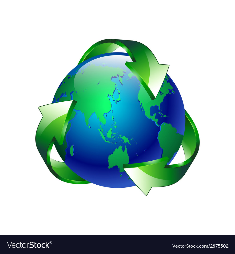 Isolated of a clean green blue planet recycl vector | Price: 1 Credit (USD $1)