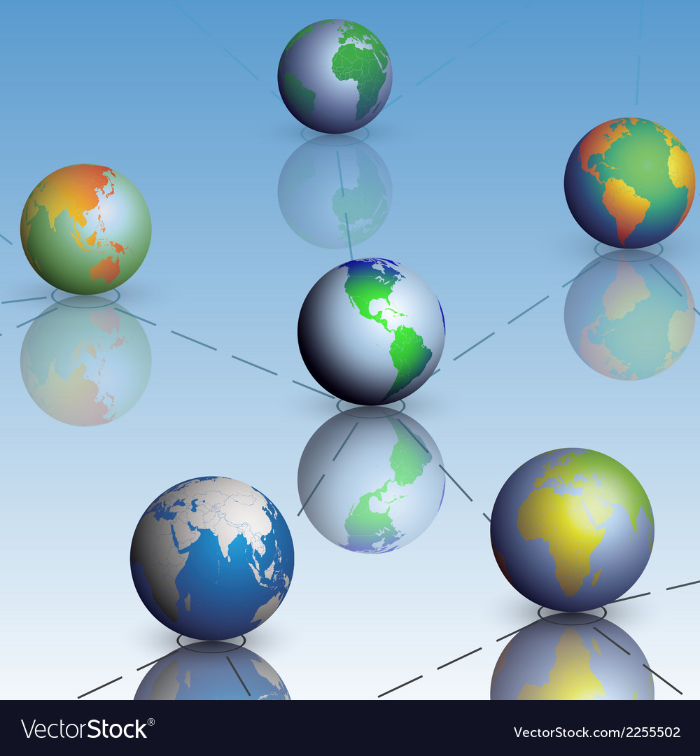Set of globe world map with shadow vector | Price: 1 Credit (USD $1)